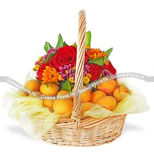 Sun gifts - a basket of roses and apricots